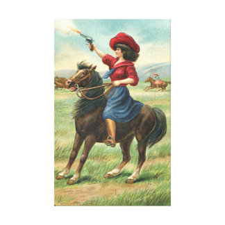 "Whoopin' Vintage Cowgirl 9""x14.5"" Canvas Print"