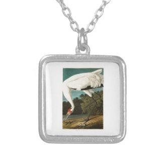 Whooping Crane John James Audubon Birds of America Square Pendant Necklace