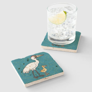Whooping Crane with Chick Stone Beverage Coaster