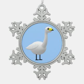 Whooping Swan Snowflake Pewter Christmas Ornament