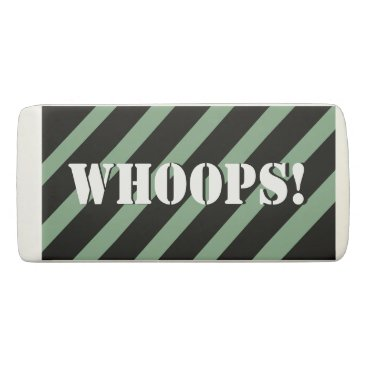 Beach Themed Whoops! Mint and black stripes Pattern Your Name Eraser