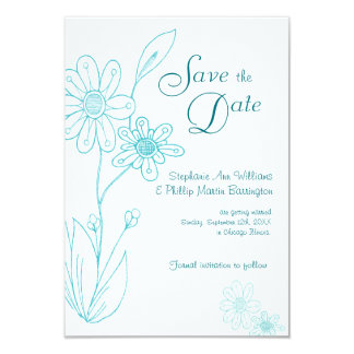 Whoopsie Daisy Simple Aqua Blue Save the Date Card