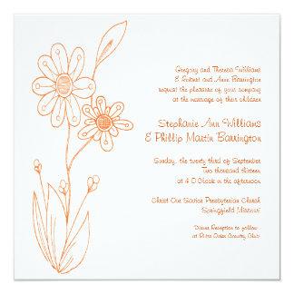 Whoopsie Daisy Simple Flowers Orange Wedding Card