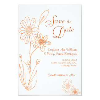 Whoopsie Daisy Simple Orange Save the Date Card