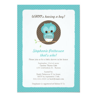 Whoo's Having a Boy? Owl Baby Shower Invitation