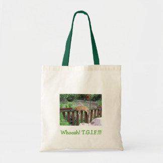 Whoosh! T.G.I.F. tote Bags