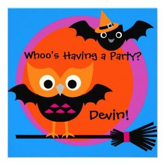 Whooty Hoot Halloween Party Invitation