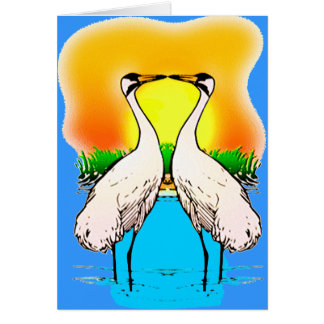 Whopping Cranes in Love Card