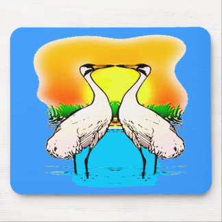Whopping Cranes in Love Mousepads