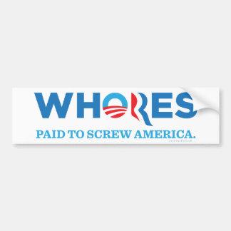 Whores 2012 car bumper sticker