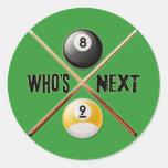 Whos después 8 y bola 9 etiquetas