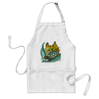Who's Going to Win this Race - Turtle or Cat? Adult Apron