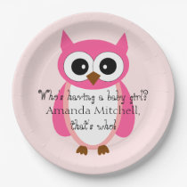 Who's Having A Baby Girl? Pink Owl Baby Shower Paper Plate