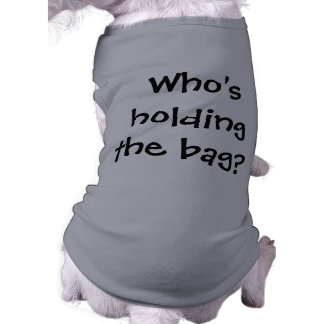 Who's holding doggie shirt