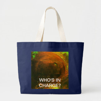 WHO'S IN CHARGE? BLUE JUMBO TOTE