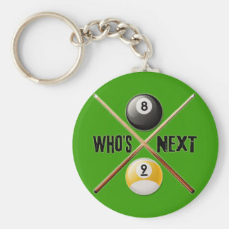 Whos Next 8 and 9 Ball Basic Round Button Keychain