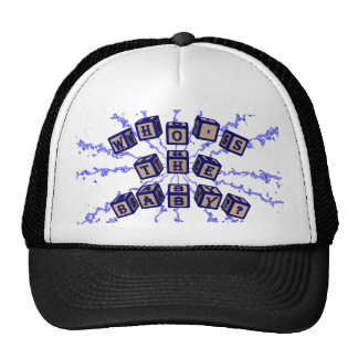 Who's the baby? toy blocks in blue. trucker hat