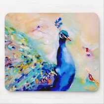 """""""Who's the Prettiest?"""" Peacock and Hummingbirds Mouse Pad"""