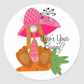 Who's Your Bunny? Classic Round Sticker