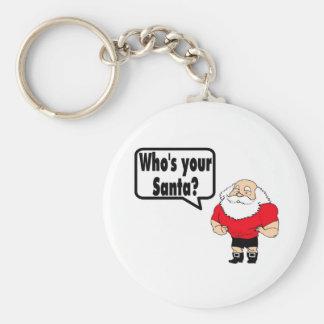 Whos Your Santa Santa Basic Round Button Keychain