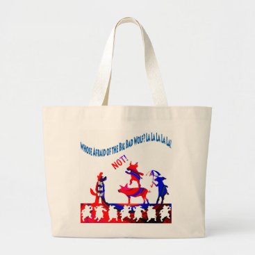 Beach Themed Whose Afraid of the Big Bad Wolf-NOT! Funny Tote
