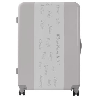 WHOSE NAME IS IT ?  GREY TRAVEL GEAR LUGGAGE