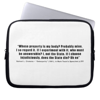 Whose Property is My Body by Samuel Clemens Computer Sleeve