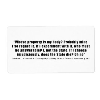Whose Property is My Body by Samuel Clemens Label