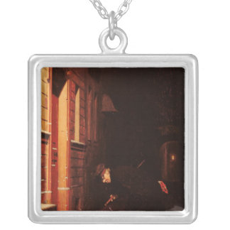 Whose traces in the snow? square pendant necklace