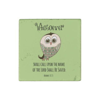 Whosoever Bible Verse with Owl Stone Magnet