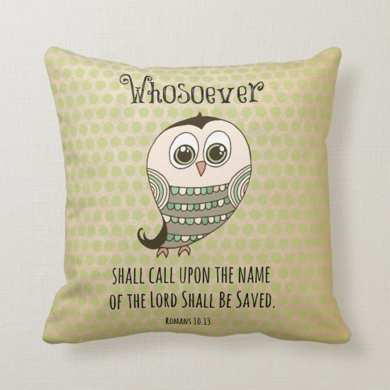 Whosoever Bible Verse with Owl Throw Pillow