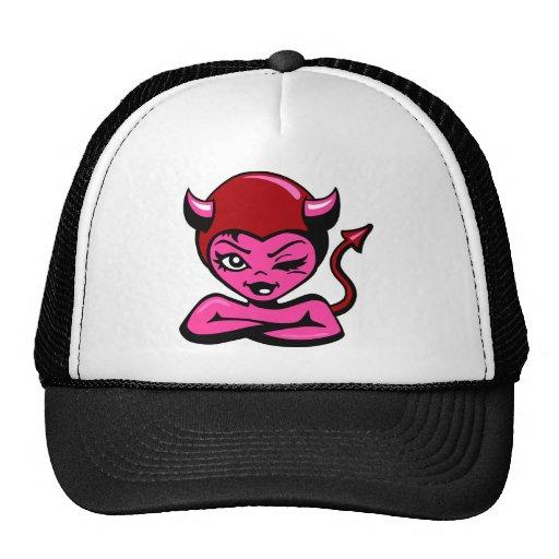 wht_Girly_Devil_Cartoon Trucker Hat