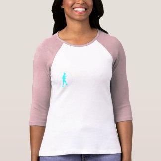 Wht Pink Raglan 3 4 Sleeve w Blue Logo Women Tshirt
