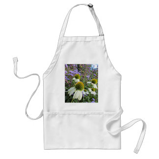 Whte Coneflowers with Blue Adult Apron