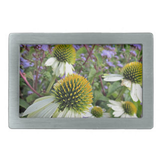 Whte Coneflowers with Blue Rectangular Belt Buckle