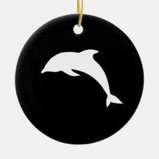 Whtie Dolphin Silhouette Ceramic Ornament
