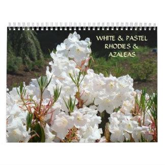 WHTIE & PASTEL Rhodies Azalea Flowers Calendar