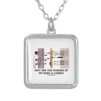Why Are You Staring At My Rods & Cones? Square Pendant Necklace