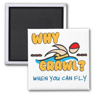 Why Crawl?  Butterfly! 2 Inch Square Magnet