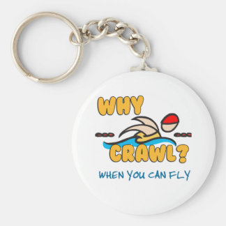 Why Crawl?  Butterfly! Basic Round Button Keychain