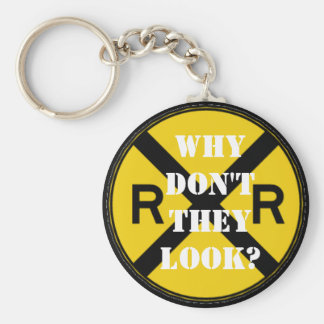 Why Don't They Look? Basic Round Button Keychain