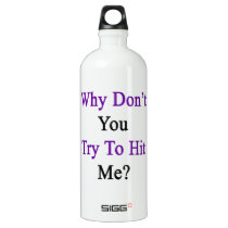 Why Don't You Try To Hit Me Aluminum Water Bottle