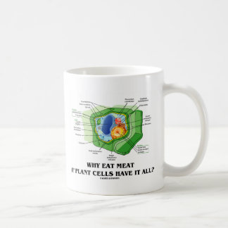 Why Eat Meat If Plant Cells Have It All? (Veg Fun) Classic White Coffee Mug