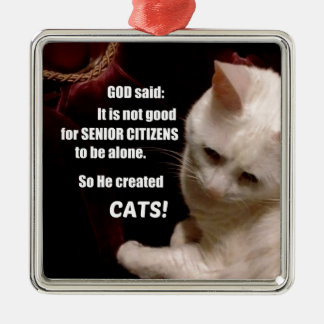 Why God created Cats (humor) Metal Ornament