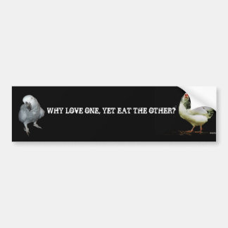 Why Love one yet eat the other-Parrot/Chicken Bumper Sticker