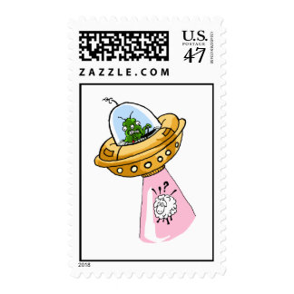 Why Me? UFO Sheep Abduction Postage