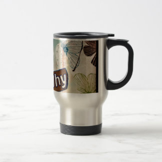 Why - mixed media art travel mug