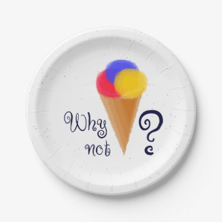 """""""Why not?"""" sign with ice-cream cone Paper Plate"""