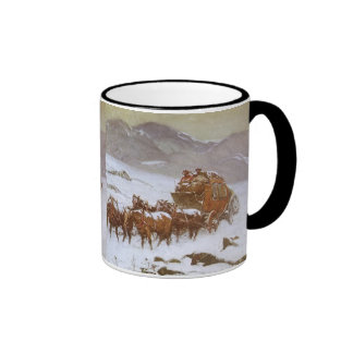 Why the Mail Was Late by Berninghaus, Vintage West Ringer Coffee Mug