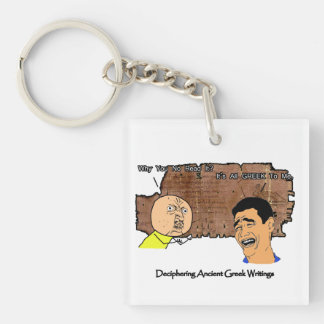 Why U NO Guy and Laughing Guy Greek to Me Meme Keychain